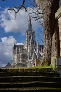 Cathédrale d'Évreux parvis  - Eure - Photo Roubinoff